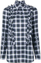 No.21 ruffle detail embellished plaid shirt
