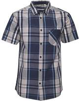 Kangaroo Poo Mens Yarn Dyed Checked Short Sleeve Shirt Blue/Multi