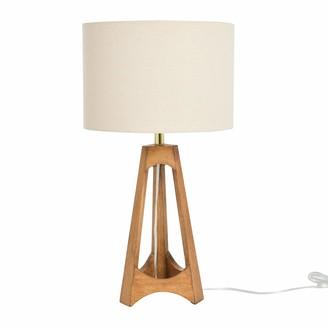Creative Co-op Frame Rubber Wood Cream Linen Shade Espresso Table Lamp
