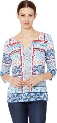 Tribal Women's Top Shirt Button Henley Sleeeve Flattering