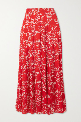 Carolina Herrera Pleated Floral-print Satin Midi Skirt - Red