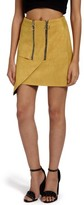 Missguided Women's Double Zip Faux Suede Miniskirt