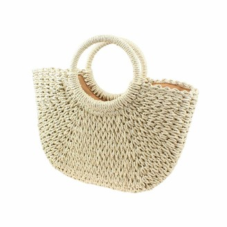 Toyis Womens Tote Bag Straw Handbags Summer Beach Tote Woven Handle Holiday Shoulder Bag (Beige)