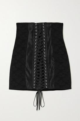 Dolce & Gabbana Lace-up Satin-trimmed Floral-jacquard Mini Skirt - Black