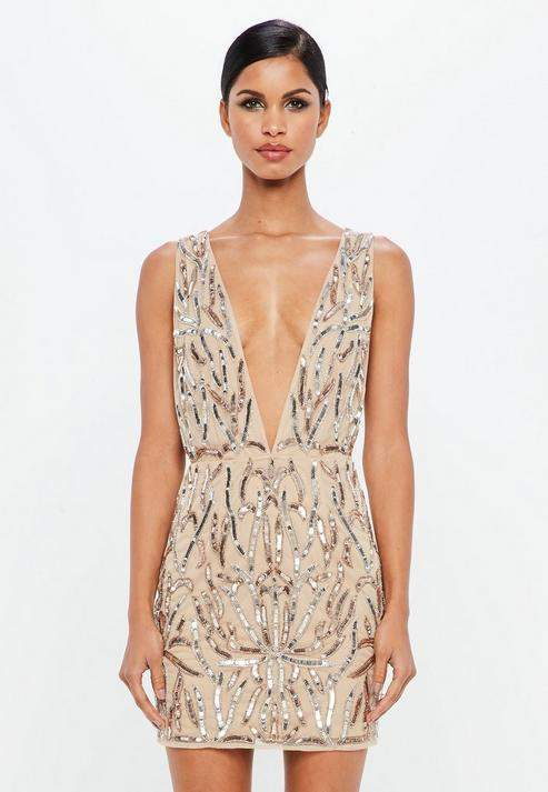 Missguided Nude Embellished Plunge Mini Dress