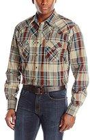 Wrangler Men's Retro Long Sleeve Khaki/Rust/Teal Shirt