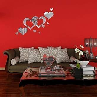 +Hotel by K-bros&Co Walplus Wall Stickers Mirror Wall Art Heart Shape Murals Café Hotel Restaurant Office Home Decoration
