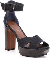 Donald J Pliner Franci Denim Criss Cross Ankle Strap Block Heel Sandals