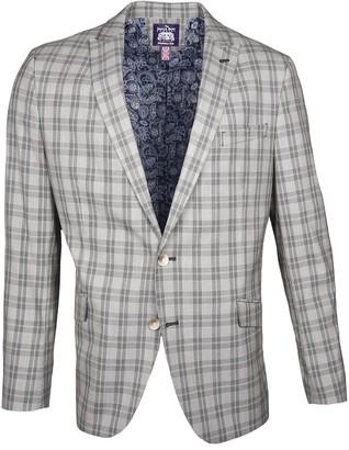 Savile Row Co Glen Plaid Peak Lapel Slim Fit Blazer