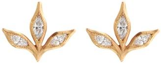 Cathy Waterman Three Marquise Diamond Leaf Rose Gold Stud Earrings