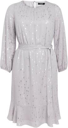 Evans Silver Foil Frill Hem Dress