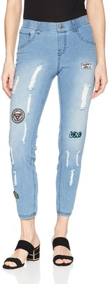 Hue Women's Patched Distressed Denim Skimmer Leggings