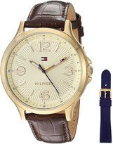 Tommy Hilfiger Women's Quartz Gold-Tone and Leather Automatic Watch, Color: Brown (Model: 1781711)