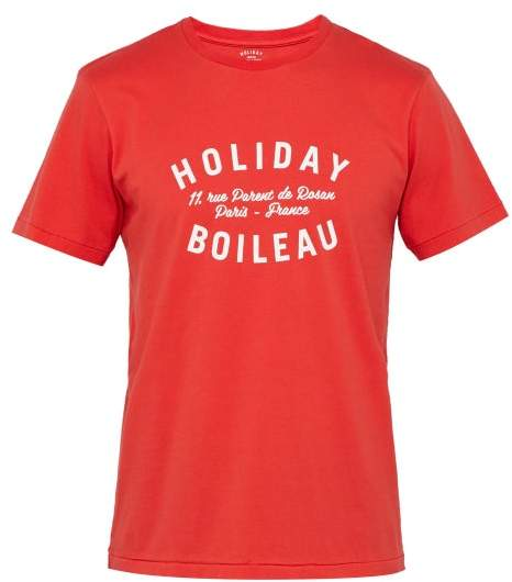 Holiday Boileau Logo-print Cotton T-shirt - Mens - Red