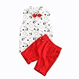Fheaven Kids Boys Outfit Clothes Sleeveless Shirt+Short Pants+Tie+Belt 4pcs Outfits Set (6/7T)