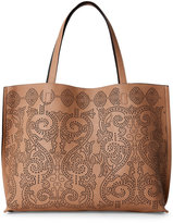 Street Level Taupe & Grey Calligraphy Reversible Tote