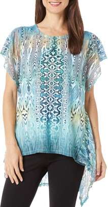 One World ONEWORLD Women's Short Sleeve Sublimation Knit Top with Lace