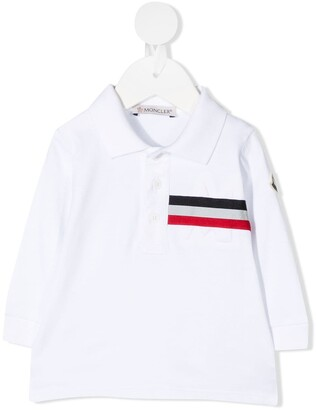 Moncler Enfant Long Sleeve Striped Print Polo Shirt