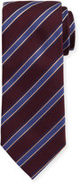 Eton Woven Twill Stripe Silk Tie, Burgundy/Blue
