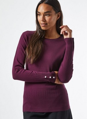 Dorothy Perkins Womens Burgundy Pearl Cuff Crew Neck Jumper