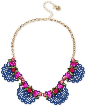 """Betsey Johnson Gold-Tone Crystal & Fabric Rose Scalloped Statement Necklace, 16"""" + 3"""" extender"""