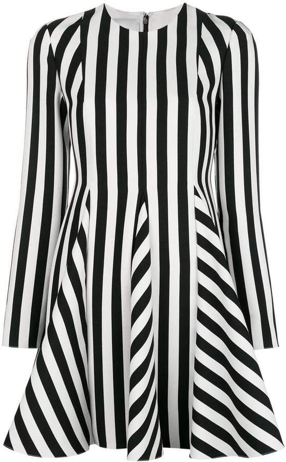 Valentino striped printed flared dress