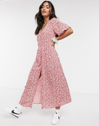 Miss Selfridge pintuck midi dress in red ditsy floral