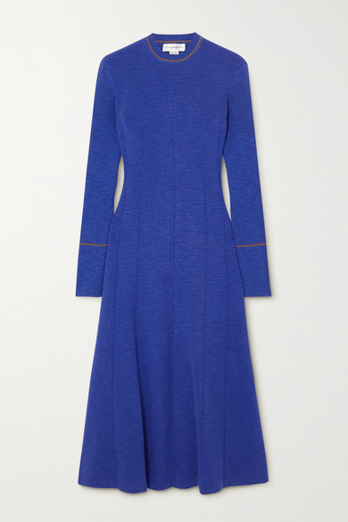Victoria Beckham Ribbed Cotton-blend Midi Dress - Blue