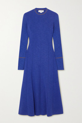 Victoria Beckham Ribbed Cotton-blend Midi Dress - Blue