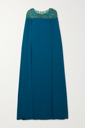 Marchesa Notte Cape-effect Embellished Tulle And Crepe Gown - Jade