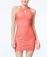 Speechless Juniors' Mock-Neck Lace Bodycon Dress