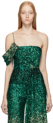 Halpern SSENSE Exclusive Green Degrade Sequin Draped Bustier