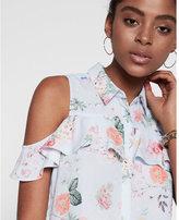 Express Floral Print Ruffle Cold Shoulder Shirt