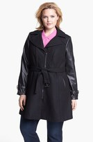 Gallery Belted Wool Blend & Faux Leather Walking Coat (Plus Size)
