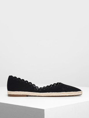 Charles & Keith Scalloped Espadrille Covered Flats