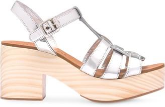 Miu Miu Metallic Wooden Sandals