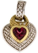 Judith Ripka Two-Tone Pink Tourmaline & Diamond Lovers Knot Heart Pendant