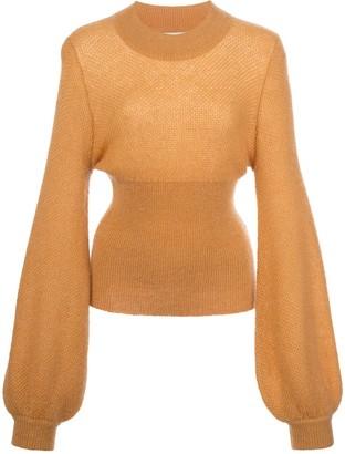 Nicholas elongated sleeve fine knit jumper