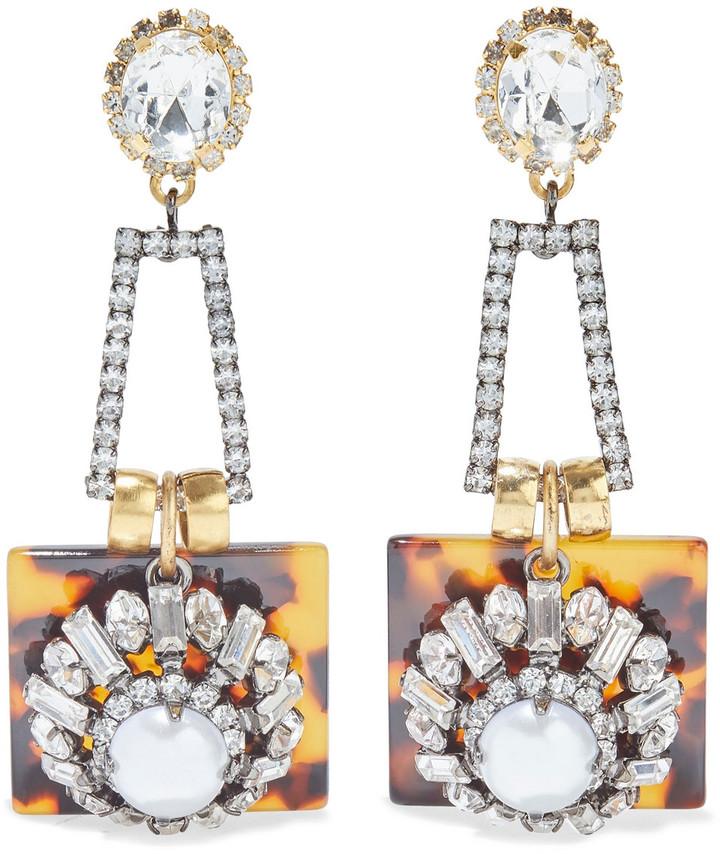 Elizabeth Cole Adny 24-karat Gold-plated, Swarovski Crystal, Faux Pearl And Tortoiseshell Acetate Earrings