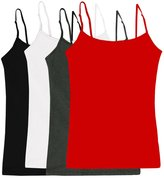 Simlu Women's Camisole Built-in Shelf Bra Adjustable Spaghetti Straps Tank Top Pack
