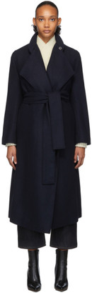 Studio Nicholson Navy Wool Herringbone Parsec Coat