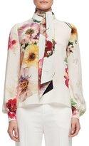Lanvin Bouquet-Print Tie-Neck Blouse, Multi