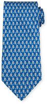 Salvatore Ferragamo Owl-Print Silk Tie, Light Gray/Blue