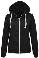 Cima Mode's Ladies Plus-Size Plain Hoodie Zip Jacket Sizes 6-20