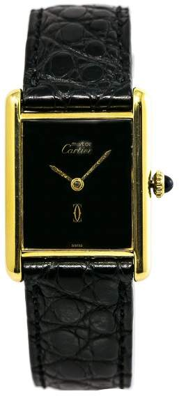 Cartier Must De Tank Gold Plated Sterling Silver Hand Winding Vintage 23mm Womens Watch