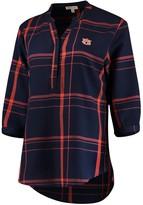 Unbranded Women's Navy Auburn Tigers Missy Cotton Plaid Tunic Shirt