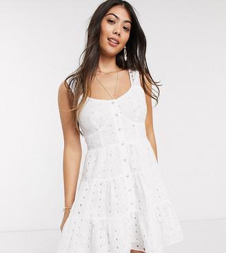 ASOS DESIGN Petite broderie button through tiered mini sundress in white