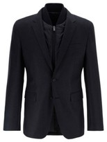 HUGO BOSS - Slim Fit Jacket In Virgin Wool With Detachable Vest - Open Grey