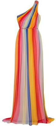 Carolina Herrera One-shoulder Striped Pleated Silk-tulle Gown