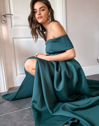 True Violet Black Label folded bardot thigh slit maxi prom dress with pockets in emerald green
